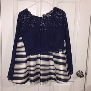 Two Piece Set Marine Blue Striped